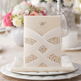 Wholesale Chinese Wedding Red Envelopes - New Red Ivory Hollow Lace Wedding Party Invitations Laser Cut Wedding Cards with Free Envelope cheap sale 50 Pieces lot