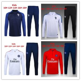 Wholesale Top Quality Jackets - kids Top quality France soccer jackets uniforms sportswear 16- 17 Training suit football Tracksuits jackets