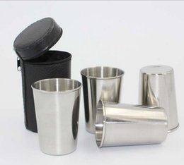 Wholesale Drink Cases - 4pcs Set 70ML Stainless Steel Pocket Shot Mini Cup With Case For Wine Beer Whiskey Drink Men's Outdoor Travel Gift