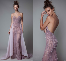 Wholesale Mermaid Sweetheart Evening Gown - Luxury Sequins Beaded Sweetheart Prom Dresses With Detachable Train 2017 Open Backless See Through Evening Dresses Formal Party Pageant Gown