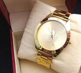 Wholesale Ladies Clover Watch - High Quality Famous Brand Fashion Gold Watch New Arrival Ad Clover LOGO Quartz Sports Relojes Ladies Mens Dress Gold Wrist Watches