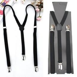 Wholesale Mens Braces Heavy Duty - Wholesale-2016 Hot Style Adjustable Plain Black Braces Suspenders Heavy Duty Unisex Mens Ladies 1.5cm