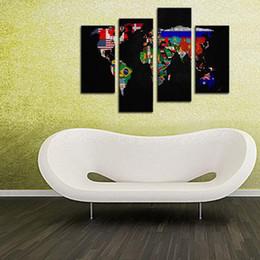 piece weltkartenwanddekor Rabatt 4 Stücke Weltkarte Malerei Druck auf Leinwand Wandkunst Malerei Flagge in Weltkarte Das Bild Wandkunst Für Wohnzimmer Wohnkultur Ungerahmt