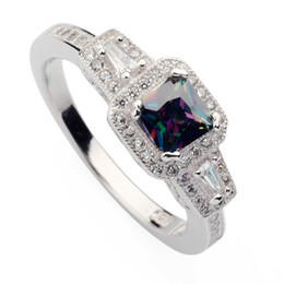 Wholesale mystic rainbow rings - Copper Rhodium Plated Fashion Rings Rainbow Fire Mystic Cubic Zirconia Favourite MN3258 sz#6 7 8 9 Noble Generous Best Sellers New Arrivals