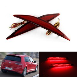 Wholesale Vw Golf Bumper Light - 2 PCS New Car styling Warning Parking Warning 12V Rear Bumper Reflector Light Red LED Tail Fog Lamp for 2013-2015 VW Golf 7