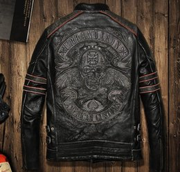Wholesale Urban Motorcycles - Frayed Harley Jackets men Slim leather motorcycle clothing urban baron genuine leather mens motor jacket collar embroidered skull