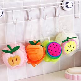 Wholesale Body Brushing - 1x Color fruit shape bath ball bathroom bath sponge rubbing towel lovely modelling shower bath flowers bath brush