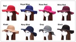 Wholesale Ladies Woolen Caps - Elegant Winter Autumn Ladies Woolen Felt Vintage Wide Large Brim Formal Hat Cap