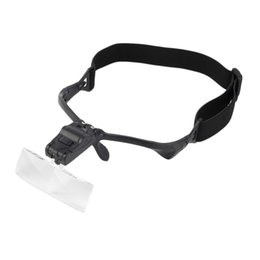 Wholesale Glass Headband Magnifier - 1X 1.5X 2.0X 2.5X 5 Adjustable Lens LED Headband Glasses Bracket Magnifier Magnifying Eyeglasses Jeweler Watch Repair Magnifier 10pcs lot