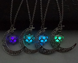 Wholesale Glow Dark Crystals - NEW FUNIQUE Fashion Luminous Glow In the Dark Necklace Sailor Moon Pendant Necklace For Women Heart Necklace cc621