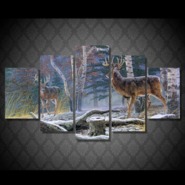 Wholesale Canvas Painting Set Two - 5 Pcs Set No Framed HD Printed Jungle two antelope Painting Canvas Print room decor print poster picture canvas bird painting