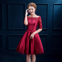 Wholesale Dark Yellow Cocktail Dress - Half Sleeves Lace Satin Cocktail Dress Short 2017 Elegant Women Dress Party Elegant Knee Length Party Gowns Burgundy