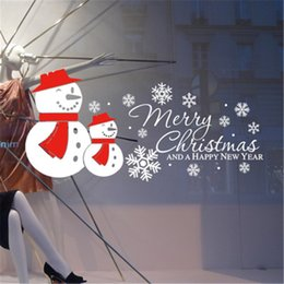 Wholesale Happy Surface - 6pcs Snowman Merry Christmas Happy New Year Wall Stickers Vinyl Decal Window Removable Specific Character Decor