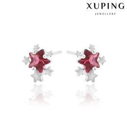 Wholesale Christmas Star Stud - Xuping Fashion Mix Color Star Zirconia Stud Earrings Lady Rhodium Plated Copper Ear Stick For Christmas Party Fashion Earrings DH-18-10K0046