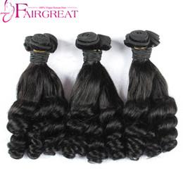 Wholesale black hair curl - 8-28inch Fummi hair Bundles Brazilian Human Hair Weaves Fumi Curl 3Pcs Human Hair Natural Black Aunty Fumi Bouncy Curls Bundles
