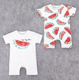 Wholesale red hot fruits - lovely fruit design kids rompers newborn Hot design in UA 100% cotton cartoon watermelon applepie apple banana