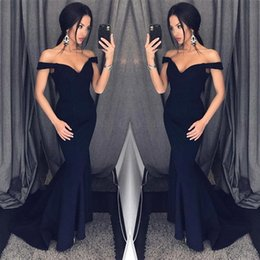 Wholesale Cheap Dresses For Proms - Dark Navy 2018 Mermaid Prom Dresses Off Shoulder Simple Floor Length Formal Evening Party Gowns Custom Cheap Dress for Women