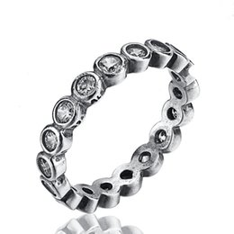 Wholesale Silver Pave Rings 925 - New65 925 Sterling Silver Rings Finger With Round Clear Cubic Zircon For Women Ring Wedding Party Birthday Elegant Fashion Jewelry