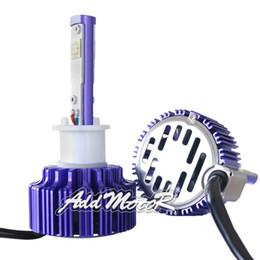 Wholesale Arc Kit - Addmotor Auto LED Headlight Bulbs w  Clear Arc-Beam Kit 2x Plug&Play 30W 3500LM CREE LED H1 6000K Cool White LED Headlamp Purple AP0H1
