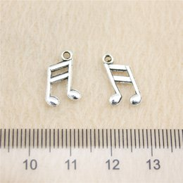 Wholesale Antique Notes - 180Pcs 13*8mm antique Silver Tonemusical note Charms Zinc Alloy DIY Handmade Jewelry Pendants Wholesale