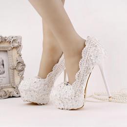 Wholesale White Bridal Shoes Rhinestones - 2016 New Arrival White Lace Chiffon Bridal Shoes Platform Ultra High Heel Wedding Shoes Beautiful Satin Flower Bridesmaid Shoes