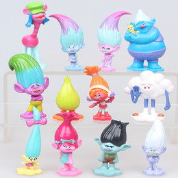 Wholesale Plastic Birthday Cake Toppers - 12 pieces   set movie trolls Height 2 inches figures cake toy Topper PVC Trolley figurines kids birthday gift children funny toys