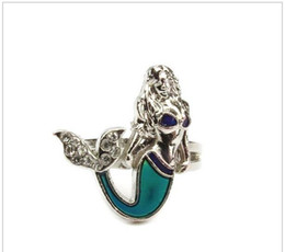 Wholesale Wholesale Stainless Steel Mood Rings - The Caribbean mermaid mood ring fashion cz diamond vintage mood emotion color mood ring 100pcs lot