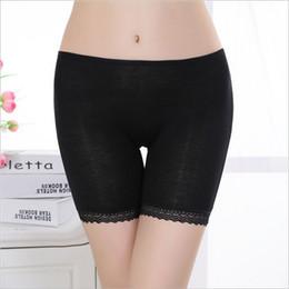 Wholesale Lace Lady Boxers - Wholesale-1 piece bamboo fiber women's safety pants women lace boxer briefs Boyshort medium waist underwear for ladies 3 colors