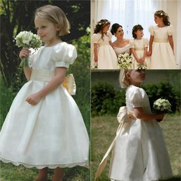 Wholesale Cheap Dresses For Junior Girls - 2016 Girls' Beauty Flower Pageant Dresses For Baby Kids Cheap Communion kate Middleton Vintage Church Junior Birthday Wedding Party Gowns