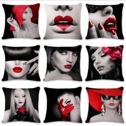 Wholesale Black Beauty Series - Black and white red lip beauty series Satin Pillowslip Sofa Pillowcase Cushion Decorative Pillow Cover Home Décor 10 design KKA2403