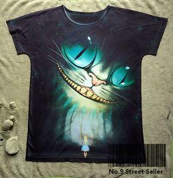 Wholesale Alice Wonderland Vintage - Track Ship+New Vintage Retro T-shirt Top Tee Smile Tooth Ghost Cheshire Cat Alice Alice's Adventure in Wonderland 0444