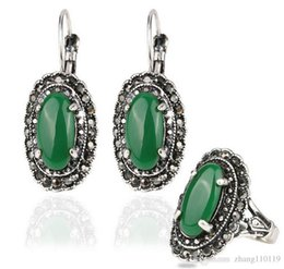 Wholesale Carved Emeralds - Gifts Pop Sale Emerald Water Drop Jewelry Set Mosaic Carved Egg Shape Resin Green Stone Vintage Statement Ring Earrings Set