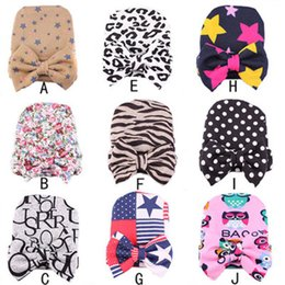 Wholesale Knitted Leopard Hats - Spring Autumn Baby Big Hair Bow Knitted Hats Soft Cotton Unisex Toddlers Hat Infants Newborn Babies dot leopard floral Caps For 0-6 Mos z077