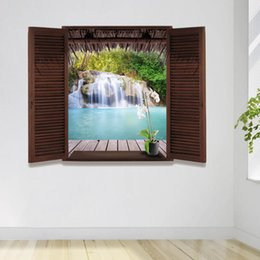 Wholesale Chinese 3d Posters - New Design Large Window Wall paper decor poster provided with 3D effect lookout waterfall, lake and forest scenery EN71 REACH 6P ceritifated