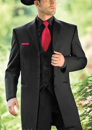 Wholesale Western Cowboy Tie - Black western cowboy tuxedos for men custom made Groom tuxedos Wedding suits for mens groommens suits (jakcet+pants+tie)