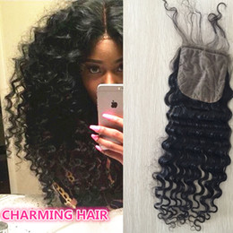 Wholesale Silk Top Hair Closure Curly - 8A Brazilian Deep Wave Curly Human Hair Silk Base Closure 4x4 Silk Top Lace Closures With Baby Hair Bleached Knots Free Parting Style