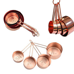 Wholesale Measuring Cup Steel - High Quality Copper Stainless Steel Measuring Cups 4 Pieces Set Kitchen Tools Making Cakes and Baking Gauges Measuring Tools WX9-32