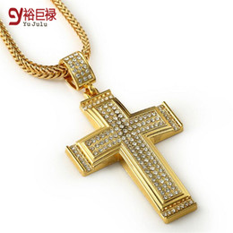 Wholesale Large Chunky Chain - Hip Hop Cross Pendant Men Chunky 24K Gold Plated Jewelry Necklace With Large Cross Pendant Hot Sale Jewelry Necklaces&Pendants Accessories