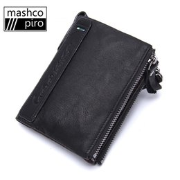 Wholesale Holder Class - Wholesale- Mashco Piro Top-class Genuine Leather Purse men Wallets Card Holder clamp for money with double zippers carteira masculina