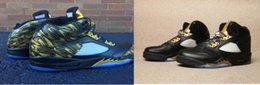 Wholesale Usa 5s - Free Shipping Big Discount Air Retro 5 V Black Gold Wings Man Basketball Shoes 5s AA High Quality Wholesale Size USA 7 12 Sneakers