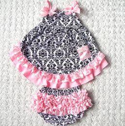 Wholesale Swing Back Baby - Wholesale-Summer style Sweet princess Sleeveless Baby girls Swing back Top set 4Color Patchwork baby girls clothing set