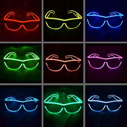 Wholesale Rave Sunglasses - EL Glasses EL Wire Fashionable Neon LED Light Glowing Sunglasses Rave Costume Party DJ Multiple Colors