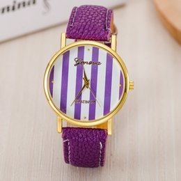 Wholesale Geneva Stripes Watch - new Hot sell Classic color stripes candy color casual female fashion watch wholesale Geneva Women Watch