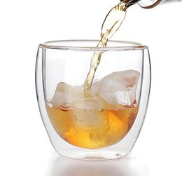 Wholesale Wave Wall Decoration - Free shipping wholesale double wall glass cup fruit juice adiabatic shot glasses egg shaped beer cup 80ml