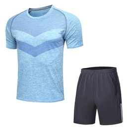 Wholesale Men Tight Football Shorts - Men's Sports Tights Two piece suit Original famous brand T-shirts Basketball football Sportswear suit Muscle training Tights T-Shirts 531NKE