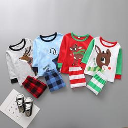terno de santa 3t Desconto Bebê de Natal alces Conjuntos de Pijama infantil Ternos de Natal Papai Noel Deer Sleepwear para 2-6 T tamanho crianças escolher livre