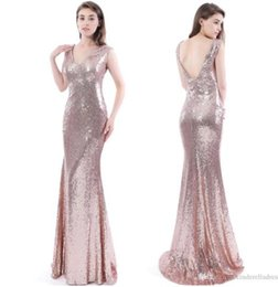 Wholesale Cheap Full Length Evening Gowns - 2017 Cheap Rose Gold Sequins Bridesmaid Dresses V Neck Mermaid Full Length Backless Long Evening Gowns Maid Of Honor Party Dress CPS409