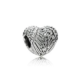 Wholesale Love Heart Wing Necklace - Authentic 100% 925 Sterling Silver Bead Charm Feathers Wings Love Heart Beads Fit Pandora Bracelets & Bangles Necklace
