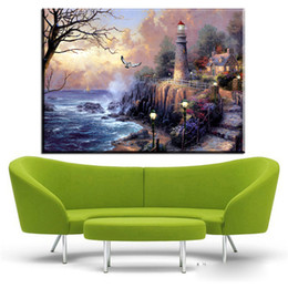 Wholesale Thomas Kinkade Landscape Paintings - ZZ448 Village Thomas Kinkade HD Canvas Print Living Room Bedroom Wall Pictures Art Painting Home Decoration No Frame paintings