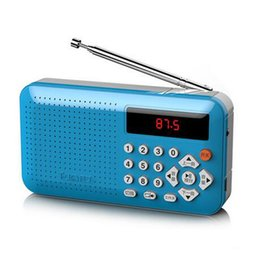 Wholesale portable radio usb sd - Mini Portable Dual Band Rechargeable Digital LED Display Panel Stereo FM Radio Speaker USB TF Mirco for SD Card MP3 Music Player